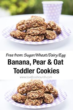 Banana, Pear and Oat Toddler Cookies. Say goodbye to processed snacks! These healthy toddler cookies are allergy friendly and contain no added sugar, honey or sweetener making them a healthy snack that toddlers love! Easy Clean Eating Recipes, Healthy Muffin Recipes, Yummy Healthy Snacks, Healthy Snacks For Kids, Vegan Snacks, Baby Food Recipes, Breakfast Recipes, Healthy Desserts, Toddler Recipes