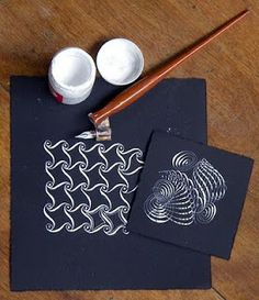 Here's an example of using Zentangle's approach with an oblique pen with white ink on black paper.