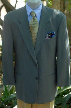 Giorgio Armani $1295 Shale Gray Herringbone Wool Sport Coat Blazer 44R 44 R #GiorgioArmani #TwoButton