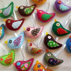 Embroidery Bird Ornaments Eco Felt & Vintage Fabric LOVE THIS