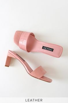 In the Senso Maisy VII Candy Pink Crocodile-Embossed Leather Slide Sandals, you'll be the most stylish babe at the beach resort! Sandals with a contoured heel. Pink Candy, Shoe Game, Slide Sandals, Crocodile, Block Heels, Shoes Heels, Flats, Kitten Heels, Vintage Fashion