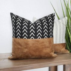 Faux Leather Pillow, Tribal Pillow, Throw Pillow C Leather Throw Pillows, Fall Pillows, Leather Pillow, Boho Pillows, Black Throw Pillows, Sewing Throw Pillows, Accent Pillows, Modern Pillows, Aztec Pillows