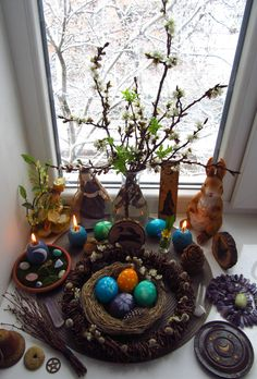 Such a beautiful Ostara altar. Wiccan Sabbats, Paganism, Pagan Altar, Vernal Equinox, Season Of The Witch, Witch Aesthetic, Book Of Shadows, Samhain, Spring