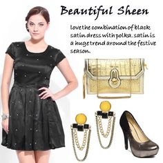 Beautiful Sheen > http://faborskip.com/post/105593893990/beautiful-sheen-love-the-combination-of-black   Love the combination of black satin dress with polka. Satin is a huge trend around the festive season