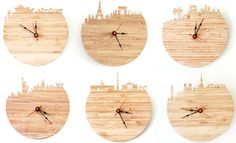 Bamboo skyline clocks by Iluxo