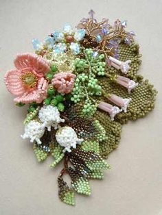 Gorgeous brooch made from seed beads