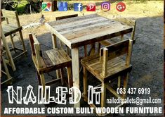 Bar - Style table and chairs in a nice rustic finish. Perfect addition to the braai, mancave or pool area. Affordable, custom built, wooden furniture. Designed by you, built by us. For more info, contact 0834376919 or naileditpallets@gmail.com #barfurniture #outdoorfurniture #patiofurniture #palletbarfurniture #mancavefurniture #pallettableandchairs #nailedpalletfurnituredurban #naileditcustombuiltpalletfurniture #custompalletfurniture #palletfurniture #palletfurnituredurban #furniturepallet