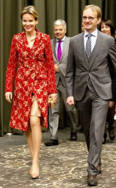 Queen Mathilde of Belgium walks besides Hong Kong General Consul of Belgium Evert Marechal during a reception with the Belgian community and Hong Kong VIP's in Hong Kong, 06.12.13.