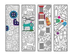 Sewing Bookmarks PDF Zentangle Coloring Page - buttons, sewing machine, scissors, thread, safety pins, needles