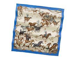 Les Mustangs vintage silk twill scarf