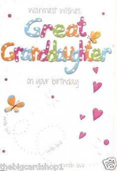 Happy Birthday Great Granddaughter Cards