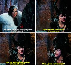 "Cruella: ""So, what, we're just playing a game of heart roulette?"" Maleficent: ""Once the other two are out of harm's way, they can work together to save the one left behind. Must I figure everything out?"""