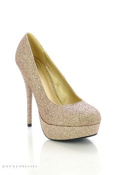 "Womens 5"" Glittery Platform Stiletto Gold High Heel Shoes"