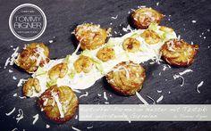 Kartoffel-Parmesan Nester mit Garnelen und Tzatziki