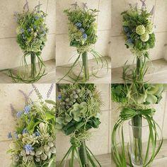 丈長めの少し大人っぽいナチュラルブーケ。グリーンベースのブーケにsomething blueとして青い小花を… お花を斜めにアレンジしたり葉っぱを丸めてまとめたり、リボンも葉っぱで作ったりとデザイン性のあるブーケになっております。表・裏・サイド全てのデザインが異なりますので角度を変えて楽しめます。花材は、多肉植物やハーブ、エアプランツ、シルバーの実など私好みのお花たちをたくさん使用しました! こちらは、撮影用に制作したブーケなのですが、もし気に入ってくださる方がいらっしゃいましたら通常オーダーの半額で販売させて頂きたいと思っております。ご希望の方はgreenpluswedding@gmail.comまでお気軽にお問い合わせください♡ #greenplusbouquet1