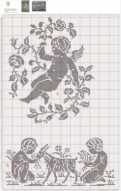 crochelinhasagulhas: Cortinas em crochê II Stitch And Angel, Cross Stitch Angels, Cross Stitch Borders, Cross Stitch Charts, Cross Stitch Designs, Cross Stitching, Cross Stitch Embroidery, Cross Stitch Patterns, Filet Crochet