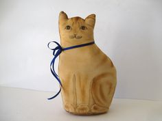 Vintage Sitting Kitty Doorstop/Pillow / Yellow Kitty Signed Dated 1982 / Home Decor Yellow Cat by Picabosplace on Etsy