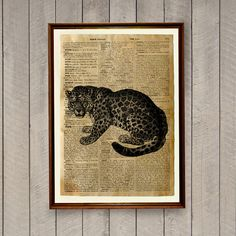 Cheetah poster printed on a handmade dictionary page. 8.3 x 11.7 inches (A4) african animal print. Savanna decor for your home and office. BUY 1 GET