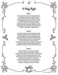 Free printable lyrics for O Holy Night in PDF format. Christmas Carols Songs, Christmas Songs Lyrics, Christmas Sheet Music, Christmas Poems, Christmas Decor, Carol Lyrics, Nights Lyrics, Great Song Lyrics, Church Songs
