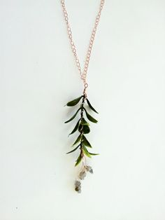 ☆ This necklace is 34.5 inches (88 centimeters) in length. ☆    This lightweight necklace features a delicate sprig of foliage, wire-wrapped in copper