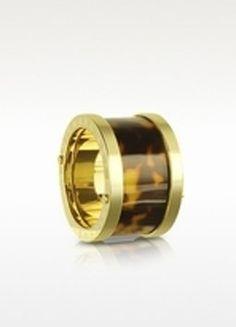 Micha Michael Kors Gold Sleek Exotics Tortoise Barrel Ring Size 6