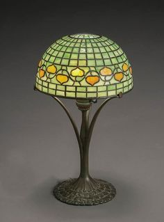 Tiffany Studios Bronze and Leaded Glass 'Acorn' Lamp First Quarter 20th Century