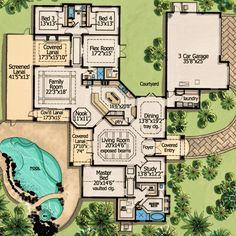 One Level Living With Courtyard - 31805DN | European, Florida, Mediterranean, Southwest, Spanish, Luxury, 1st Floor Master Suite, Butler Walk-in Pantry, CAD Available, Courtyard, Den-Office-Library-Study, PDF, Split Bedrooms, Corner Lot | Architectural Designs