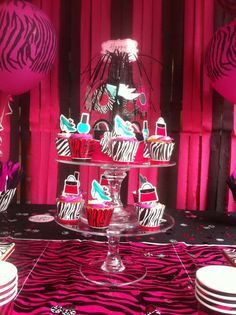 Zebra Birthday Party cupcakes!  See more party planning ideas at CatchMyParty.com!