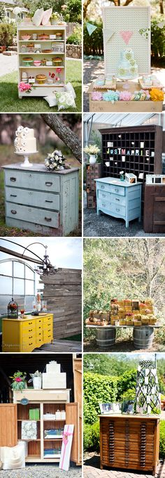 Vintage furniture wedding displays, plus, after the wedding you'll have an extra meaningful piece of furniture for your home Vintage Outdoor Furniture, Wedding Furniture, Shabby Chic Furniture, Garden Furniture, Antique Furniture, Funky Furniture, Paint Furniture, Dining Furniture, Furniture Projects