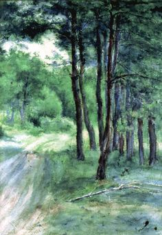 Władysław Podkowiński - Road in a forest 1891 French Impressionist Painters, Homeland, Landscape Art, Impressionism, Polish, Inspire, Artists, Illustration, Pictures