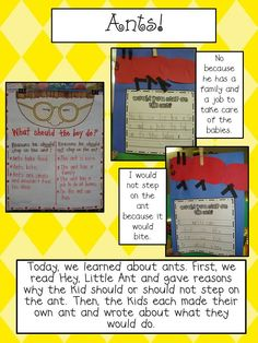 Fun craft/writing assignment to go with Hey, Little Ant. Plus, a great science experiment.