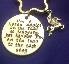Im a horse addict on the road to recovery, just kidding Im on the road to the tack shop Hand stamped aluminium key ring with Pegasus charm Lightweight aluminium, thickness *****Please note the new star shaped split ring that will be used***** Tack Shop, Key Rings, Equestrian, Addiction, My Etsy Shop, Horse, Personalized Items, Unique Jewelry, Handmade Gifts