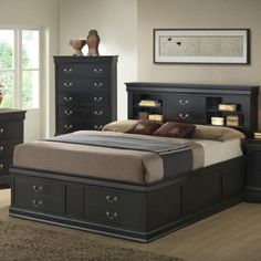Add an incredible amount of storage space to your bedroom in elegant fashion with the Coaster Furniture Louis Philippe Bookcase Storage Bed . Black Bedroom Sets, Black Bedroom Design, 5 Piece Bedroom Set, Bedroom Bed Design, Bedroom Decor, Blue Bedrooms, Baby Bedroom, Bedroom Designs, Modern Bedroom