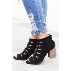 4ca67020d9 Black Lasercut Caged Heels Qupid Beau-01 Caged Heels, Fashion Deals, Heeled  Mules