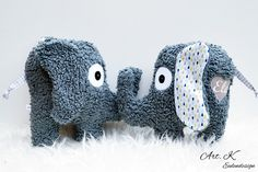 Süßes Spielzeug für Kinder: Elefant mit individuellem Namen auch als Spieluhr / children's toy: elephant soft toy with individual name also as music box made by Art.K via DaWanda.com