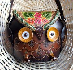 Brown Leather Owl Floral Handbag Shoulder Purse, medium size - HOOT :)  $95.00 (@Amy LaRue) :)