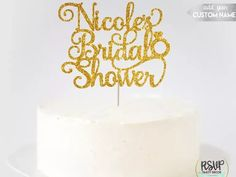 Personalized name topper in glittery gold script Dog Cake Topper, Custom Cake Toppers, Custom Cakes, Wedding Cake Toppers, Baseball Wedding Cakes, Wood Cake, Acrylic Cake Topper, Rustic Cake, Colorful Cakes