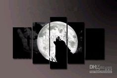 Hand-painted Hi-Q modern wall art home decorative abstract landscape animal oil painting on canvas huge moon night wolf 5pcs/set framed