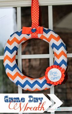 Chevron Dry Erase Game Day Wreath - Shes {kinda} Crafty