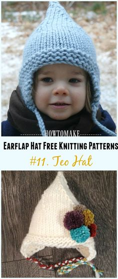 Earflap Hat Free Knitting Patterns - Page 3 of 3 - Crochet & Knitting Baby Hat Knitting Patterns Free, Baby Hats Knitting, Crochet Baby Hats, Knitting For Kids, Loom Knitting, Free Knitting, Knitting Projects, Knitted Hats, Crochet Bebe