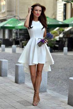 High Low Prom Dress, Satin Prom Dresses, Scoop Neck Homecoming Dress, Aline Homecoming Dresses, White Cocktail Dresses