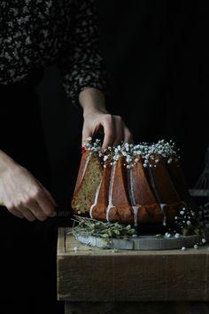 Bundt cake tea port with icing herbal liqueur.