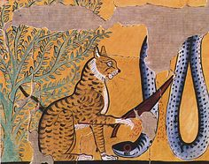 Charles K. Wilkinson. Cat Killing a Serpent, Tomb of Sennedjem, ca. 1295–1213 B.C. The Metropolitan Museum of Art, New York. Rogers Fund, 1930 (30.4.1) #cats