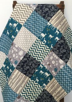 Baby Boy Quilt Westwood Woodland Chevron Rustic Teal by CoolSpool