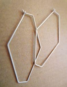 Diamond-Shaped Hexagon Wire Earrings. $30.00, via Etsy.
