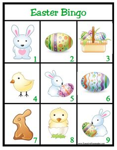 How to make bingo card with these free printable bingo cards and templates. You can use these bingo cards for baby and bridal shower games… Easter Bingo, Easter Party Games, Home Party Games, Game Party, Easter Activities For Kids, Easter Activities For Preschool, Easter Crafts, Easter Ideas, Easter Projects