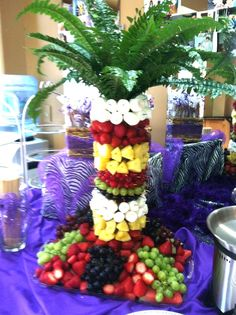 Awesome fruit tree for chocolate fountain my awesome friends made for Katie's grad party. Awesome fruit tree for chocolate fountain my awesome friends made for Katie's grad party. Awesome fruit tree for choco Chocolate Fountain Recipes, Chocolate Fountains, Luau Party Desserts, Fruit Tables, Fruit Trays, Party Food Catering, Dessert Catering, Bird Of Paradise Wedding, Watermelon Carving