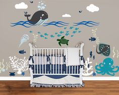 Under the Sea Friends Decal, Large room, Nautical, whale, Octopus decal, Sea Nursery Wall Vinyl