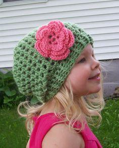 Girls Slight Slouch Hat PDF Crochet Pattern - 3 Sizes - 6-12 M - 1-3 Years - 4-8 Years Slouchy Beanie