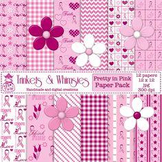 Pretty In Pink Digital Scrapbook Papers  by TrinketsAndWhimsies